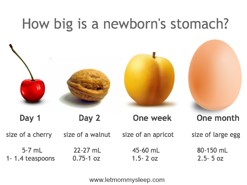 The estimated sizes of a newborn's tummy during the first month. [Credits: www.letmommysleep.com]